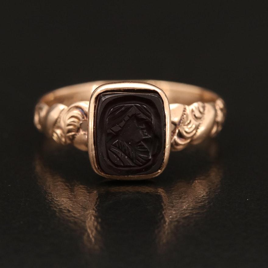 Antique 9K Sard Intaglio Figural Ring