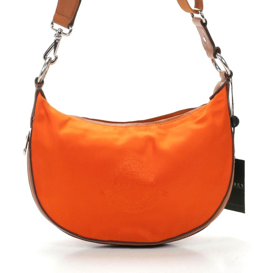 Lauren by Ralph Lauren Weymouth Two-Way Crossbody in Orange Nylon and Leather