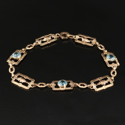 Vintage 14K Zircon Foliate Rectangular Link Bracelet