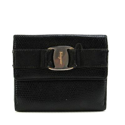 Salvatore Ferragamo Black Lizard Embossed Vera Flap Wallet