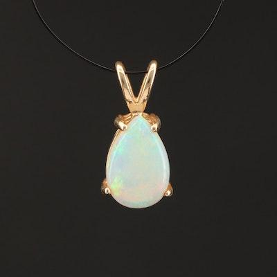 14K Pear Opal Cabochon Solitaire Pendant