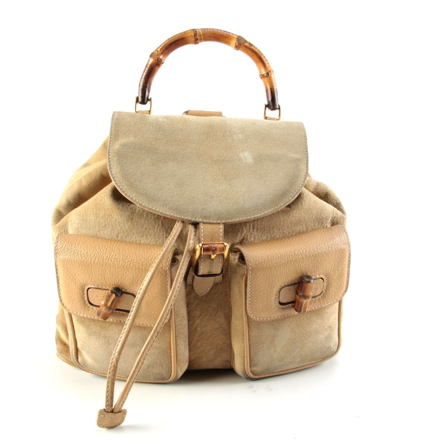 Gucci Bamboo Twin Pocket Backpack in Beige Suede and Leather