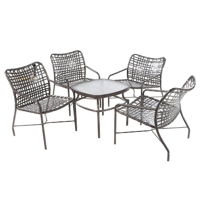 Four Metal Framed Patio Chairs with Glass Top End Table