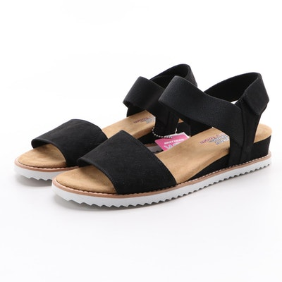Bobs from Skechers Desert Kiss Black Faux Leather Sandals with Box