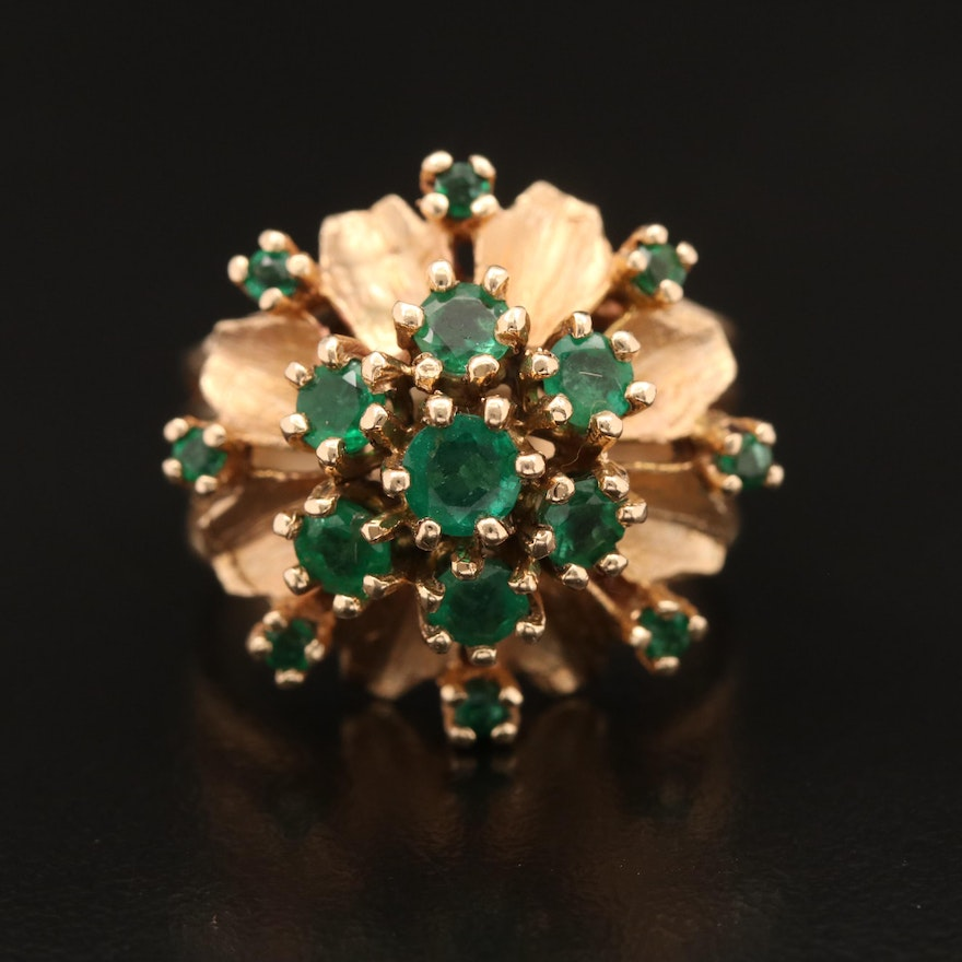 14K Emerald Flower Cluster Ring