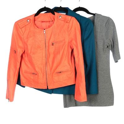 Akris Punto Wool Angora Jacket and Knit Top with Alice + Olivia Leather Jacket