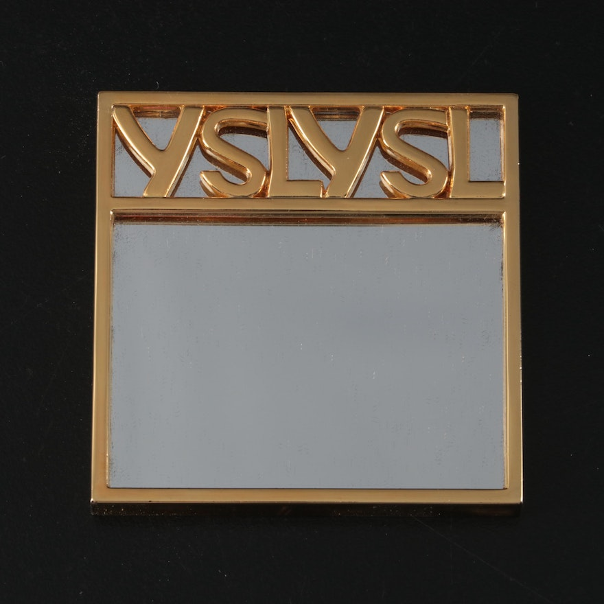 Yves Saint Laurent Gold Tone Compact Mirror and Microfiber Case