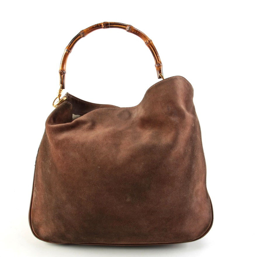 Gucci Two-Way Bamboo Hobo Bag in Brown Suede and Leather