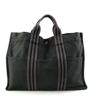Hermès Fourre Tout PM Tote Bag in Black and Grey Canvas