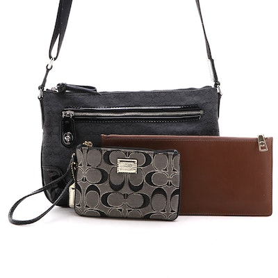 Coach Signature Crossbody Bag, Poppy Wristlet and Pencil Case