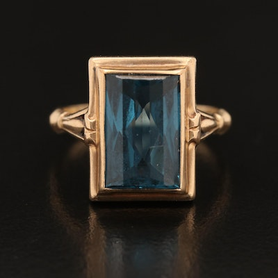 10K Rectangular Topaz Ring
