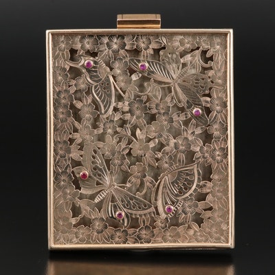 Circa 1940s Boucheron Sterling Ruby Compact with Butterfly and Flower Design