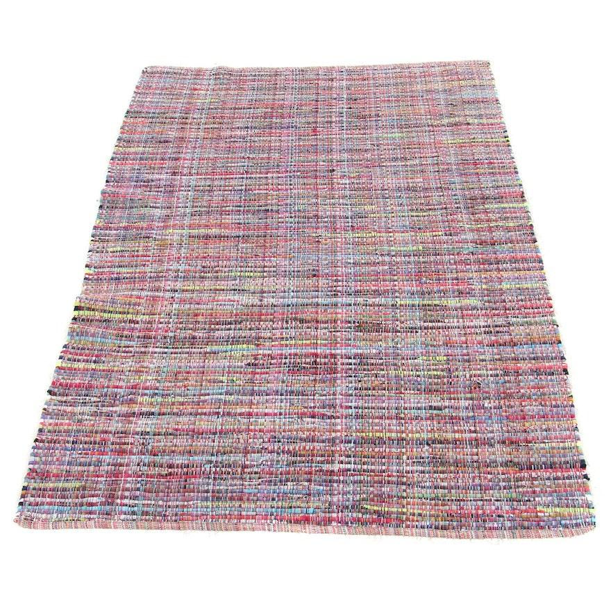 3'11 x 6'2 Handwoven American Primitive Style Rag Rug, circa 1980s