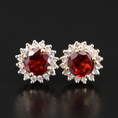 14K Garnet and Diamond Halo Earrings