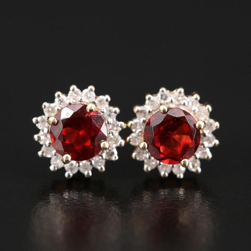 14K Garnet and Diamond Halo Earrings