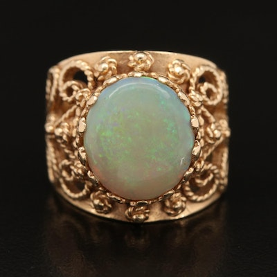 14K Opal Ring with Scrolled Design