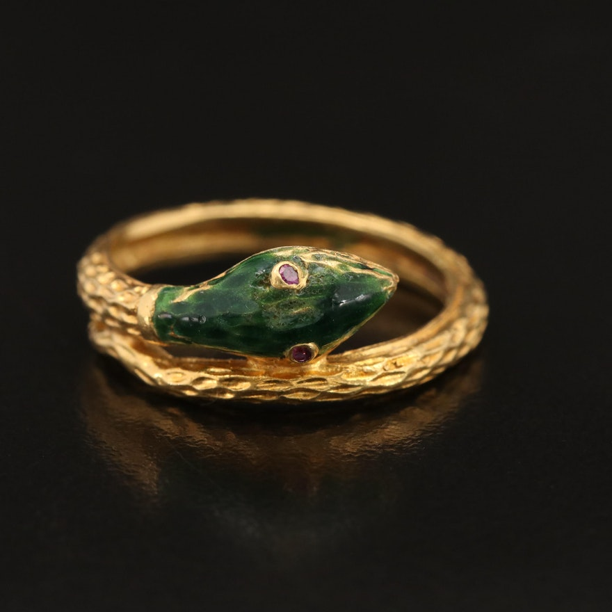 Italian FOMA 18K Enamel Snake Ring with Ruby Eyes