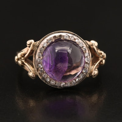 10K Amethyst and Diamond Ring with Sterling Accents