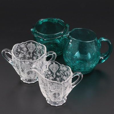 "Cambridge ""Rose Point"" and Other Crackle Glass Creamers and Sugars"