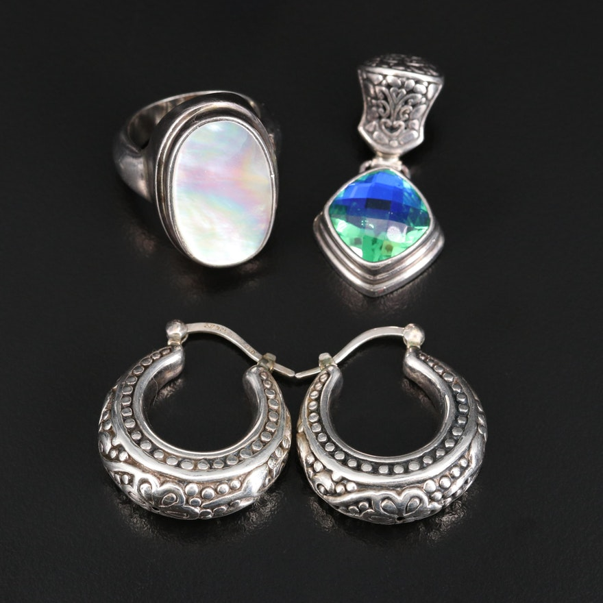 Sterling Silver Jewelry Featuring Mother of Pearl and Quartz