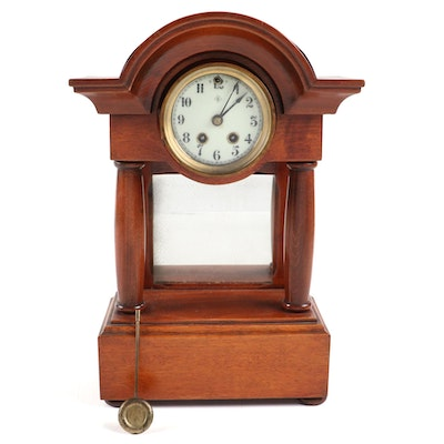 Wm.L. Gilbert Oak Portico Clock with Mirror, Late 19th to Early 20th Century