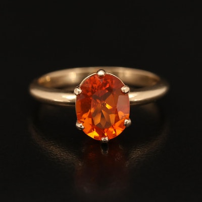 14K Oval Faceted Fire Opal Solitaire Ring
