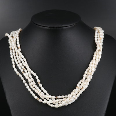 14K Five Strand Pearl Necklace