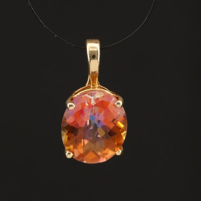 14K Oval Faceted Mystic Topaz Enhancer Pendant