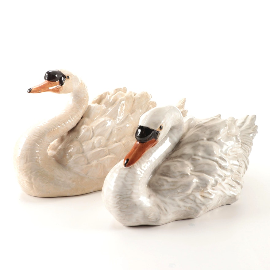 Glazed Terracotta Swan Figurines, Mid to Late 20th Century