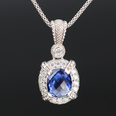 Judith Ripka Sterling Sapphire and Cubic Zirconia Enhancer Pendant Necklace