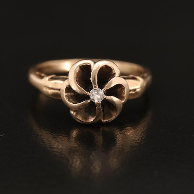 Antique 14K 0.03 CT Diamond Solitaire Floral Ring