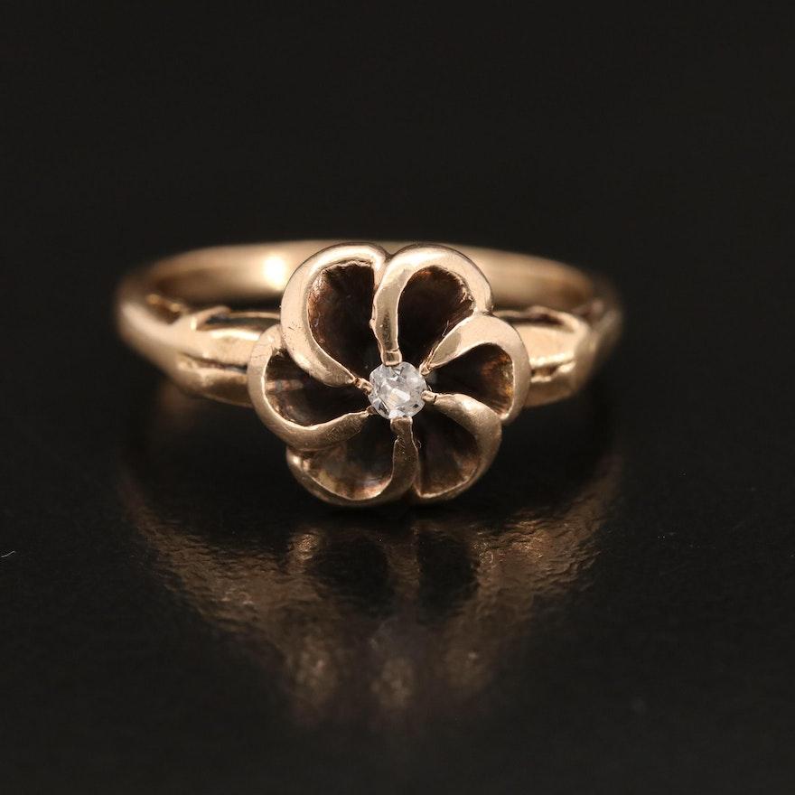 Antique 14K 0.03 CT Diamond Solitaire Floral Ring