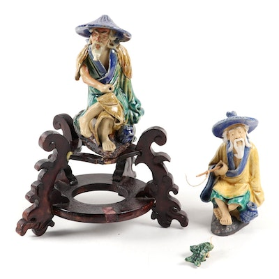 Chinese Schiwan Ware Fisherman Figurines with Wooden Stand, Late 20th Century