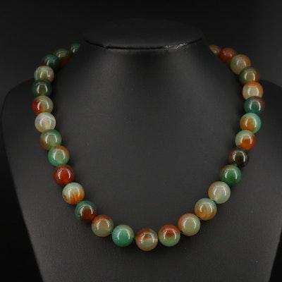 Agate Beaded Necklace with Sterling Bow Clasp