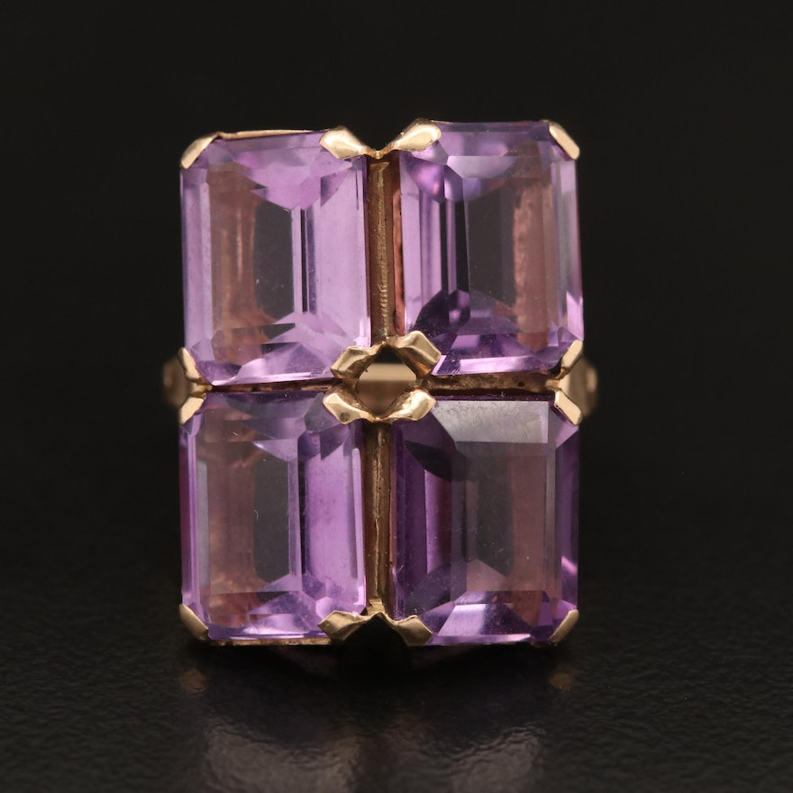 10K Amethyst Rectangular Ring