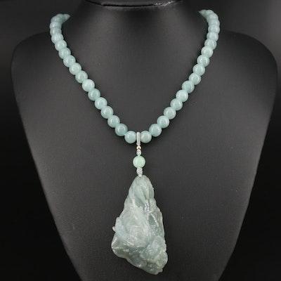14K Jadeite Dragon Necklace