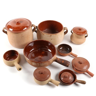 Bazar Français and Vallauris French Terracotta Cookware, Early to Mid 20th C.