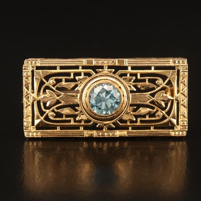 Art Deco Style 10K Zircon Brooch