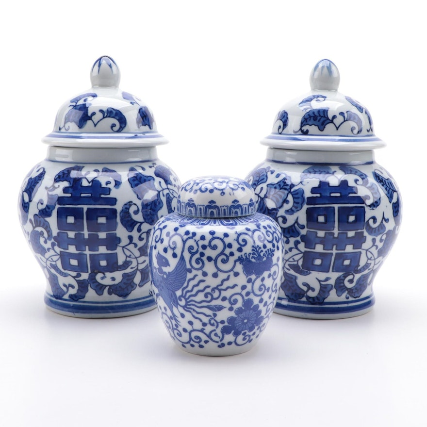 Chinese Double Happiness and Other Blue and White Porcelain Ginger Jars