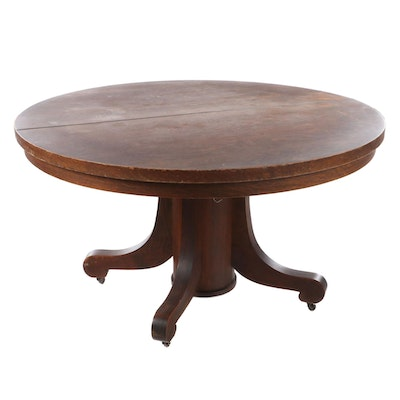 American Empire Revival Oak Pedestal Dining Table, Early 20th Century
