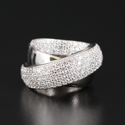Sterling Silver Cubic Zirconia Crossover Ring