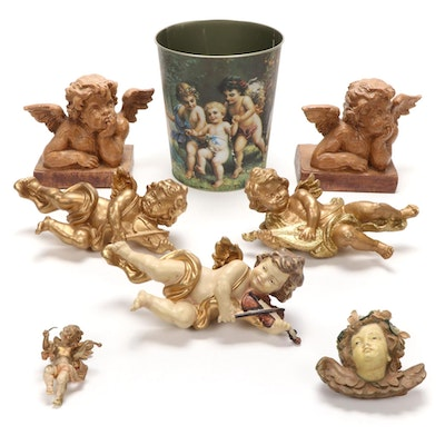 Raphael's Angels Bookend with Other Cherub Themed Decor, Late 20th Century
