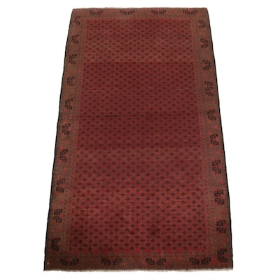 3'9 x 6'8 Hand-Knotted Afghan Tribal Balouch Wool Rug