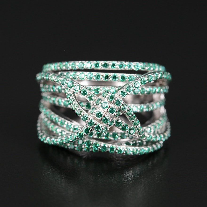 Sterling Silver Cubic Zirconia Multi Row Ring