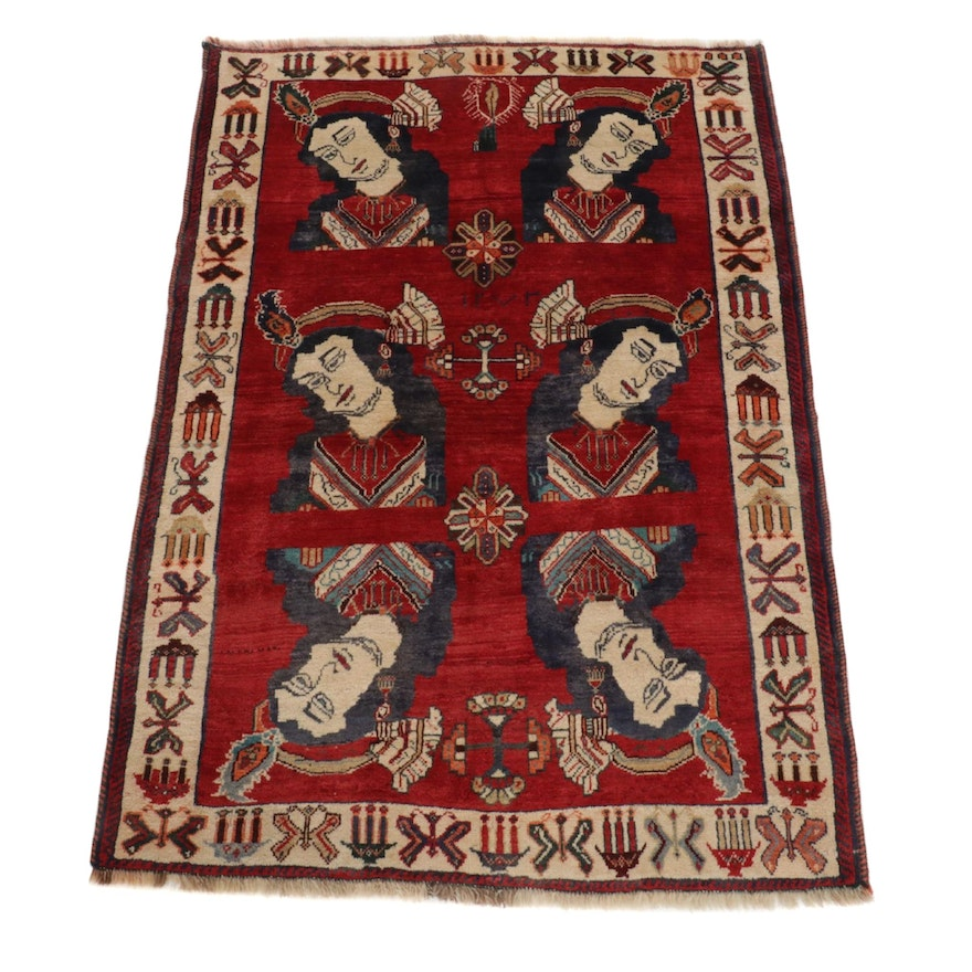 4' x 5'9 Hand-Knotted Persian Qashqai Pictorial Wool Rug