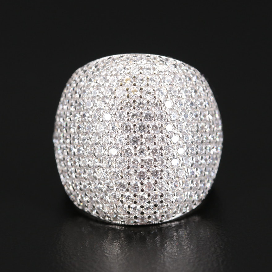 Sterling Silver Pavé Cubic Zirconia Ring