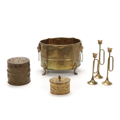 Brass  Horn Shaped Candlesticks and Decorative Vessels, Late 20th Century