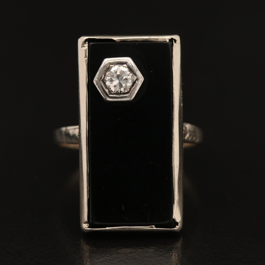 Art Deco 14K Black Onyx Ring with Diamond Accent
