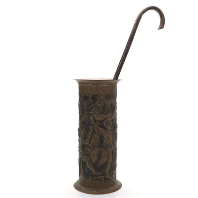 English Repoussé Metal Umbrella Stand with Wood Cane