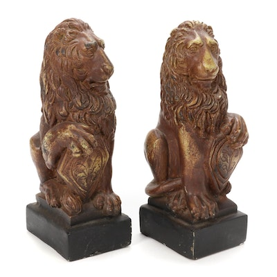 Pair of Cast Plaster Figural Lion Bookends